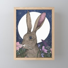 The Hare and the Moon  Framed Mini Art Print