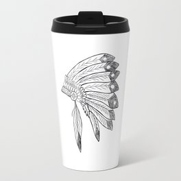 Native american indian headdress illustration Travel Mug