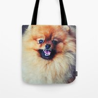 pomeranian Tote Bags featuring POMERANIAN PHOTOGRAPH by Allyson Johnson
