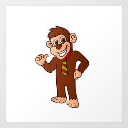 Monkey with tie Art Print