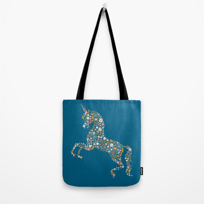 Floral Unicorn in Blue + Coral Tote Bag