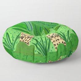 Leopards in the jungle Floor Pillow
