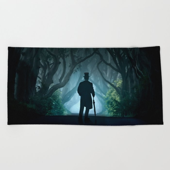 Morning visit in cold Dark Hedges Beach Towel