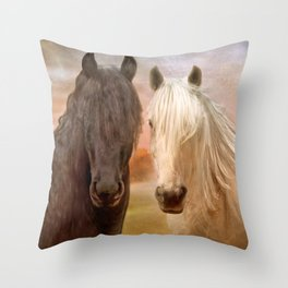 Stallions Of Destiny Throw Pillow