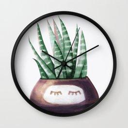 Sleepy Succulent Mint Green + Plum Wall Clock