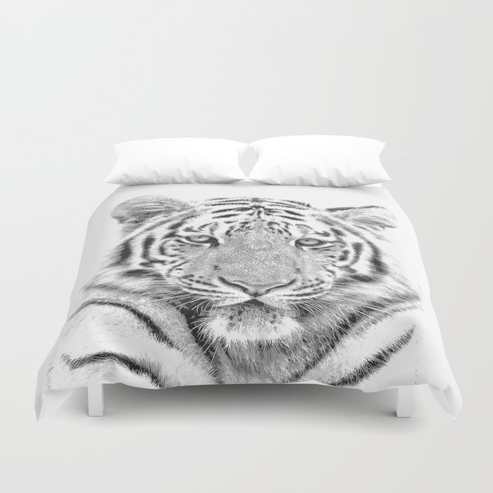 Black and white tiger Duvet Cover by alemi | Society6