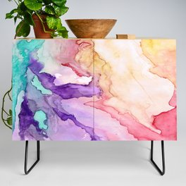 Color My World Watercolor Abstract Painting Credenza
