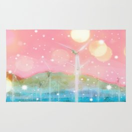 wind turbine in the desert with snow and bokeh light background Rug