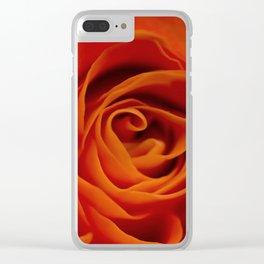 Orange rose closeup Clear iPhone Case