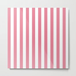Vertical Stripes Pink & White Metal Print