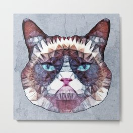 abstract grouchy cat Metal Print