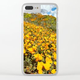 California Poppies Low Poly Geometric Triangles Clear iPhone Case