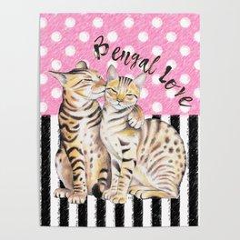 Bengal Cats Love Polka Dot Pink Stripes Poster