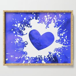 Blue and white smoky splatter heart Serving Tray