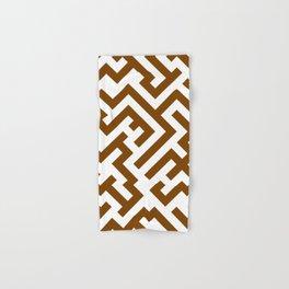 White and Chocolate Brown Diagonal Labyrinth Hand & Bath Towel