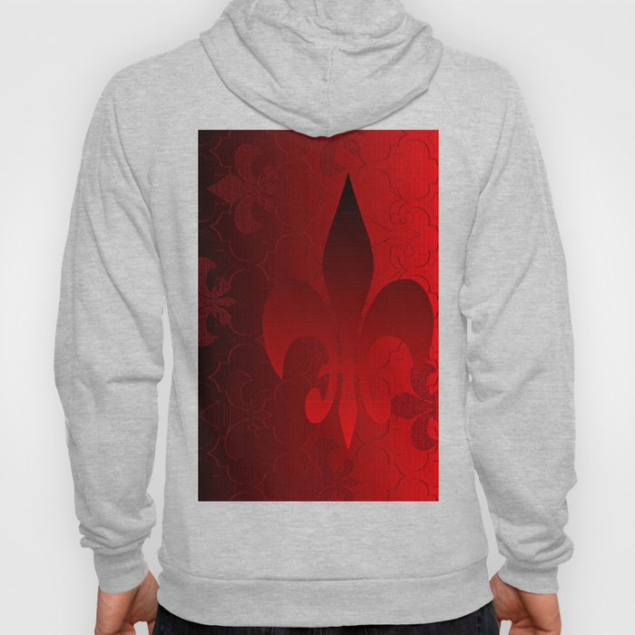 Fleur De Lis Red Holiday Pattern Hoody