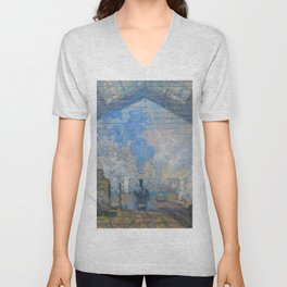 "Claude Monet ""La Gare Saint-Lazare"" Unisex V-Neck"