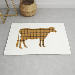 Cow: Orange Plaid Rug