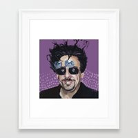 tim burton Framed Art Prints featuring Tim Burton by Pazu Cheng