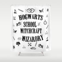 witchcraft Shower Curtains featuring Hogwarts School of Witchcraft and Wizardry by Pia Ham
