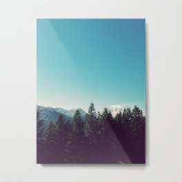 Mount Rainier Peeking Out Metal Print