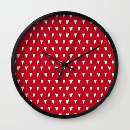 Bright Christmas red with white hearts pattern Wall Clock