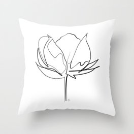 """ Botanical Collection "" - Cotton Plant Throw Pillow"