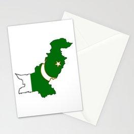 Pakistan Map with Pakistani Flag Stationery Cards