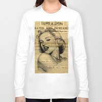 newspaper Long Sleeve T-shirts featuring Marilyn newspaper by Teo Designs