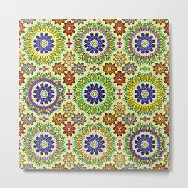 Tiled mandala flowers 2 Metal Print