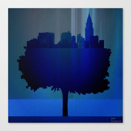 Point of view on the city blue Canvas Print