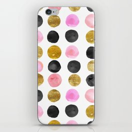Chic Painted Circle Pattern - Black, Gold, Pink iPhone Skin