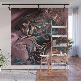 Metallic Rose Gold Marble Swirl Wall Mural