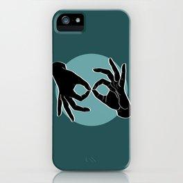 Sign Language (ASL) Interpreter – Black on Turquoise 07 iPhone Case
