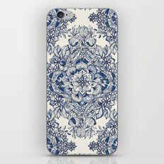 Floral Diamond Doodle in Dark Blue and Cream iPhone & iPod Skin