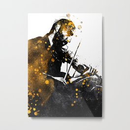 Violin music art gold and black #violin #music Metal Print