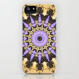 Brushed Gold and Purple Mandala Design iPhone Case