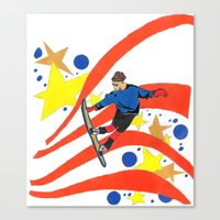 snowboard Canvas Prints featuring Snowboard Illustration by Crooked Walker