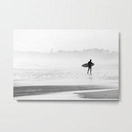 Beach Surf BW Metal Print