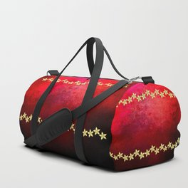 Red and black textured background decorated with gold flowers Duffle Bag