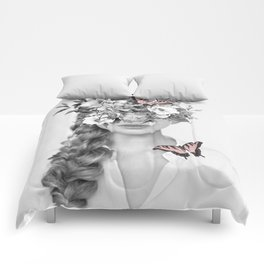 woman with flowers and butterflies 9a Comforters