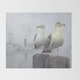 Two Sea Gulls in a Misty Harbor with Sailboats and Fishing Boats on Vancouver Island Throw Blanket