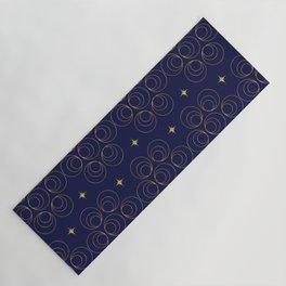 Abstract Faux Gold Circles and Stars Pattern Indigo Blue Yoga Mat