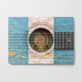 Old Vintage Acoustic Guitar with Guatemalan Flag Metal Print