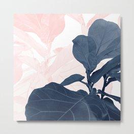 Blush Blue Fiddle Leaf Dream #1 #tropical #decor #art #society6 Metal Print