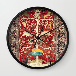 Silk Heriz Azerbaijan Northwest Persian Rug Print Wall Clock