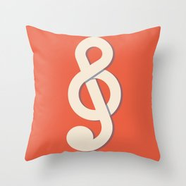 Treble Cleff Red Throw Pillow