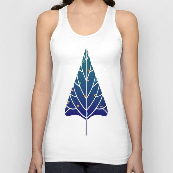 Tree with birds (blue-red) Unisex Tank Top
