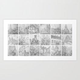 Prague sketches by David A Sutton. 18 piece horizontal. sketchbookexplorer.com Art Print