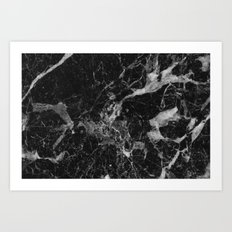 Black and Gray Marble Pattern Art Print